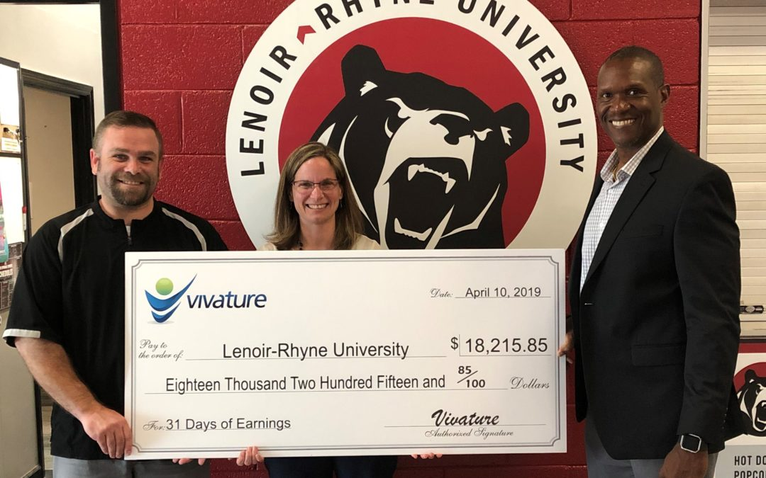 VIVATURE PRESENTS CHECK TO PARTNERS AT LENOIR-RHYNE UNIVERSITY