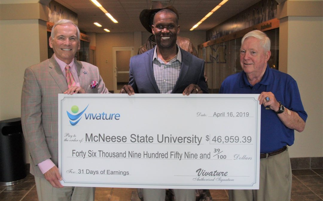 $46,959.39 REVENUE CHECK PRESENTED TO MCNEESE STATE UNIVERSITY