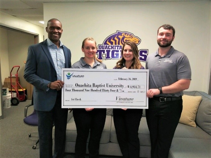 VIVATURE PRESENTS OUACHITA BAPTIST UNIVERSITY WITH FIRST REVENUE CHECK