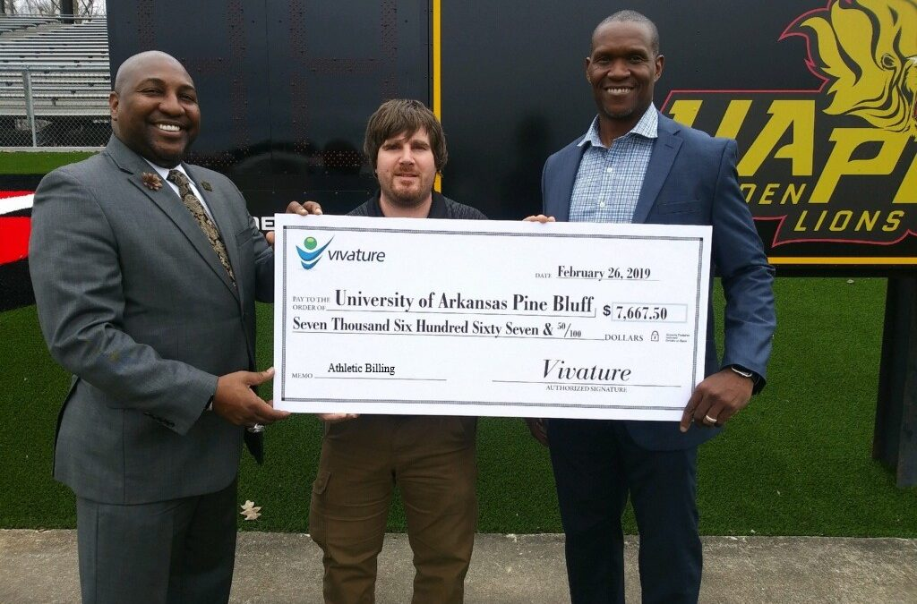 UNIVERSITY OF ARKANSAS PINE BLUFF RECEIVES REVENUE CHECK FROM VIVATURE